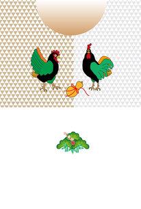 ニワトリと瓢箪のポップな年賀葉書の写真素材 [FYI00493082]