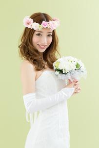 ウエディングドレスの女性 グリーン背景の写真素材 [FYI00493109]