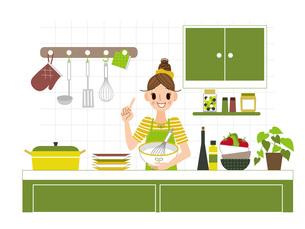 キッチンに立つ女性の写真素材 [FYI00495810]