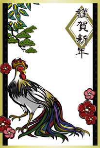 酉年かっこいい鶏の年賀状テンプレートの素材 [FYI00495827]