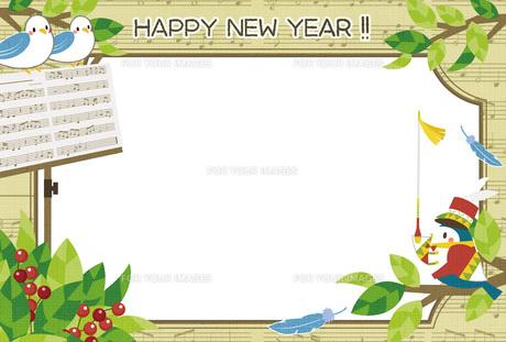 酉年かわいいフレーム年賀状テンプレートの写真素材 [FYI00495832]