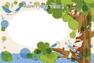 青い鳥の酉年用年賀状テンプレートの素材 [FYI00495833]