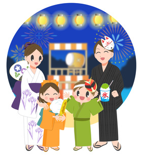 家族で夏祭りの写真素材 [FYI00495839]