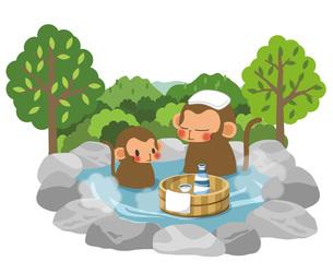 サルの親子と天然温泉の写真素材 [FYI00495849]