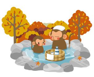 紅葉と温泉と申の親子の素材 [FYI00495850]