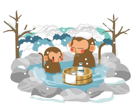 サルと冬の温泉の素材 [FYI00495851]