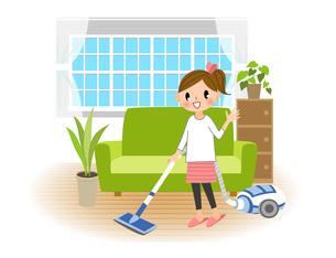 掃除機をかける女性の写真素材 [FYI00495853]