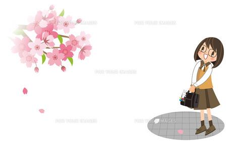 桜と女の子の素材 [FYI00495856]