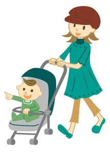 ベビーカーで散歩する親子の写真素材 [FYI00495923]