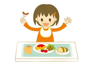 食事をする女の子2の素材 [FYI00495962]