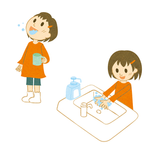 うがい、手洗いする女の子の写真素材 [FYI00495963]