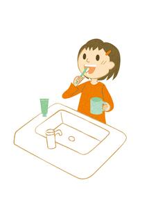 歯磨きする女の子の素材 [FYI00495974]
