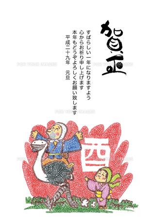 2017年賀状/酉/色鉛筆/ひょっとこ/オカメ/ダチョウ/賀正の写真素材 [FYI00495983]