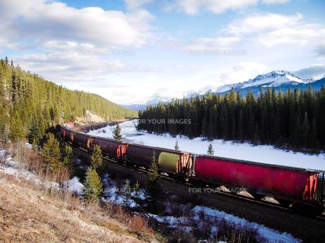 冬のカナディアン・ロッキー ボウ川沿いを走る貨物列車の写真素材 [FYI00497122]
