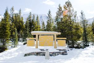冬のカナディアン・ロッキー 大陸分水嶺ーアルバータ州とブリティッシュ・コロンビア州の州境の写真素材 [FYI00497128]