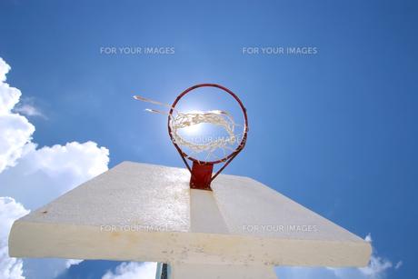 バスケットとバックボードを下から眺める構図の写真素材 [FYI00497477]