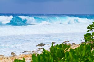 大波が打ち寄せる海岸の写真素材 [FYI00497492]
