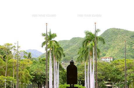ハワイ州立美術館の建物前にある、銅像の後姿の写真素材 [FYI00498108]