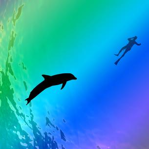 海中の中のイルカとダイバーの素材 [FYI00498500]