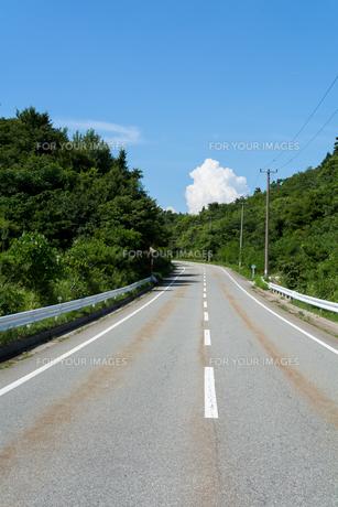 道路と入道雲の素材 [FYI00499063]