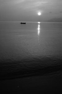 朝日、モノクロの写真素材 [FYI00499151]