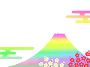 富士山と梅の花のイラスト素材 [FYI00542302]