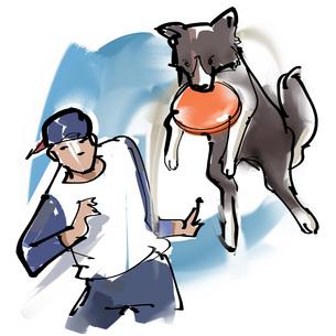 犬とフリスビーのイラスト素材 [FYI00542451]