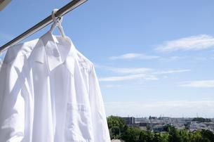 洗濯日和 青空の下でのワイシャツ干しの写真素材 [FYI00544851]