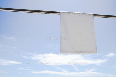 洗濯日和 青空の下でのタオル干しの写真素材 [FYI00544859]