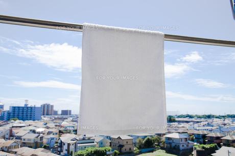 洗濯日和 青空の下でのタオル干しの写真素材 [FYI00544860]