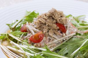 シーチキンと水菜のサラダの写真素材 [FYI00544869]