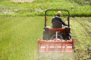 耕運機で耕す農地の写真素材 [FYI00545542]