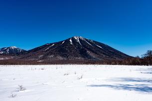 日本晴れ 冬の戦場ヶ原と男体山の写真素材 [FYI00549529]