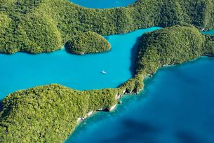 パラオの青い海と白いヨットの写真素材 [FYI00549546]