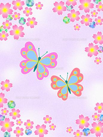 桜の花と蝶のイラスト素材 [FYI00551846]
