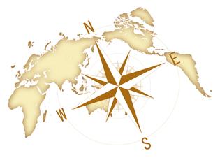 コンパス 世界地図 ビジネス経営のイラスト素材 [FYI00552400]