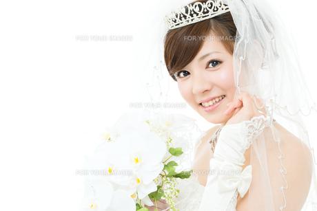 ウエディングドレス白背景の写真素材 [FYI00558847]