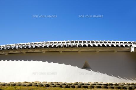 姫路城土塀と桜の写真素材 [FYI00571556]