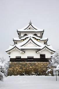 雪の彦根城の写真素材 [FYI00580456]