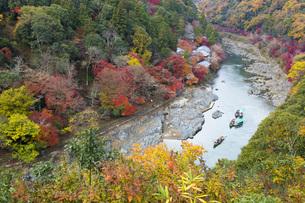 秋の京都嵐山渓谷の写真素材 [FYI00582860]