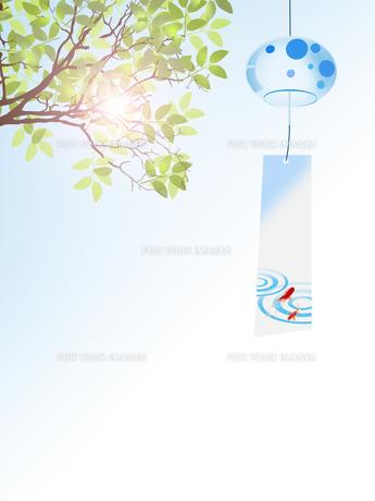 風鈴 夏 新緑 和柄のイラスト素材 [FYI00589489]
