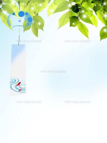 風鈴 夏 新緑 和柄のイラスト素材 [FYI00589493]