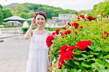 花の前に立つ女性の写真素材 [FYI00603513]