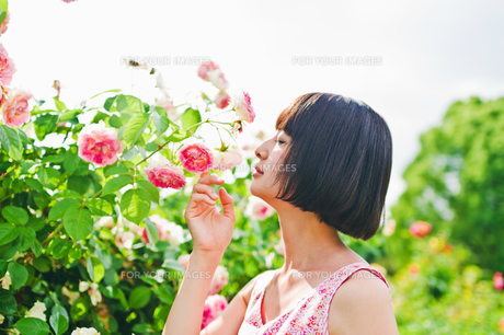 花の前に立つ女性の素材 [FYI00603598]