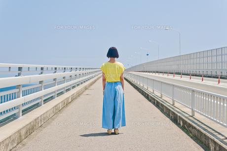 前を見据える女性の後ろ姿の素材 [FYI00603638]