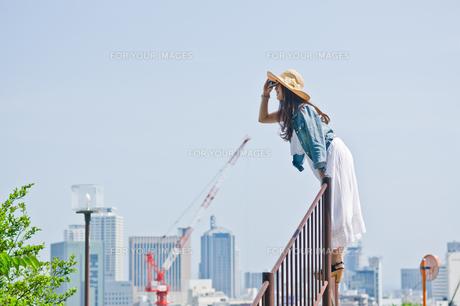 柵に登り遠くを眺める女性の素材 [FYI00603675]