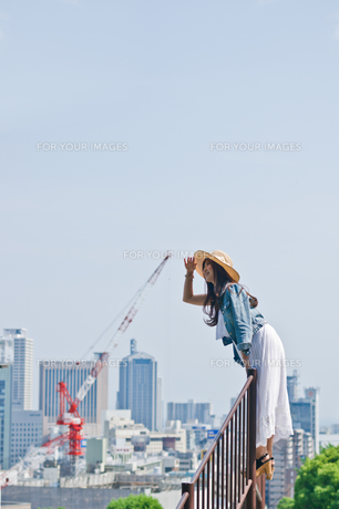 柵に登り遠くを眺める女性の素材 [FYI00603760]