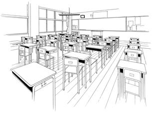 手描き背景線画_学校_教室14のイラスト素材 [FYI00604710]