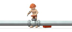 配管を修理する男性のイラスト素材 [FYI00604752]