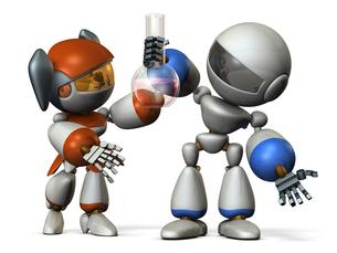 新しい発見をする二人のロボットのイラスト素材 [FYI00604755]